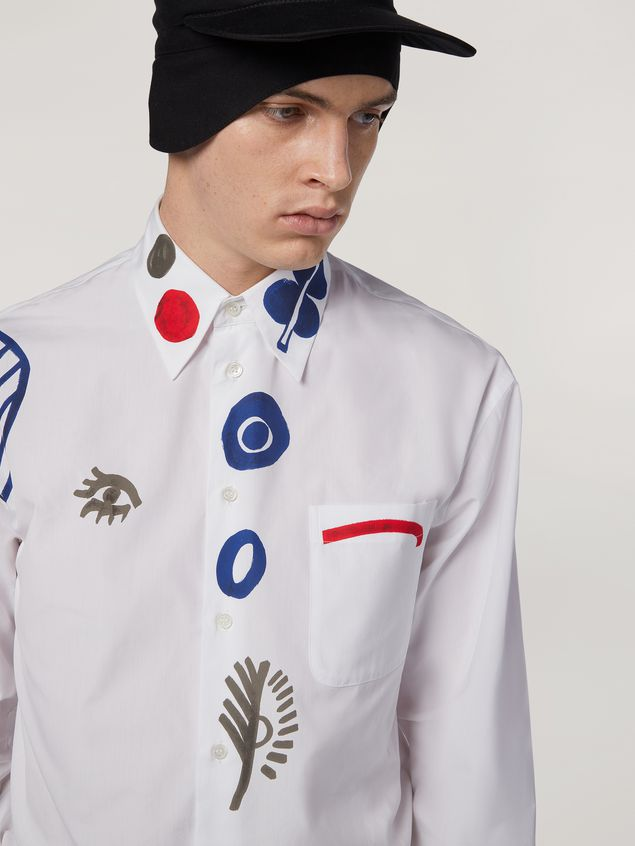 Marni Shirt in cotton poplin with placed prints Man - 4