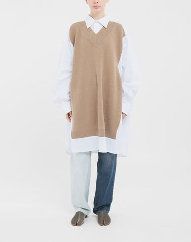 SHIRTS Spliced oversized shirt Camel