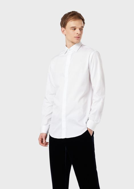 Slim-fit, cotton twill shirt