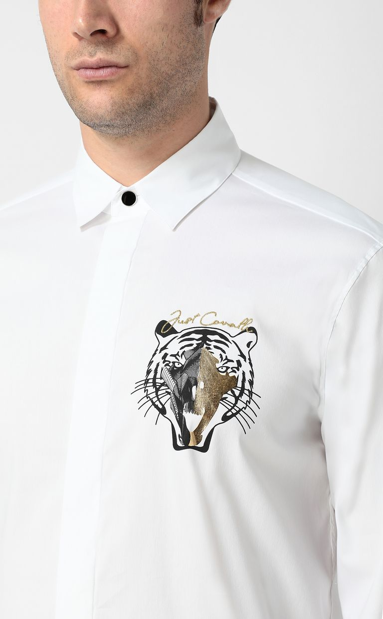 JUST CAVALLI Shirt with tiger Long sleeve shirt Man e