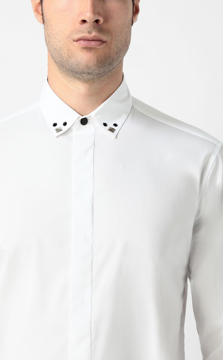 JUST CAVALLI White shirt with stud details Long sleeve shirt Man e