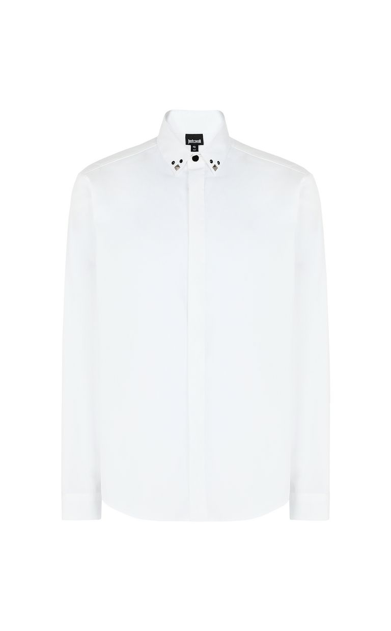 JUST CAVALLI White shirt with stud details Long sleeve shirt Man f