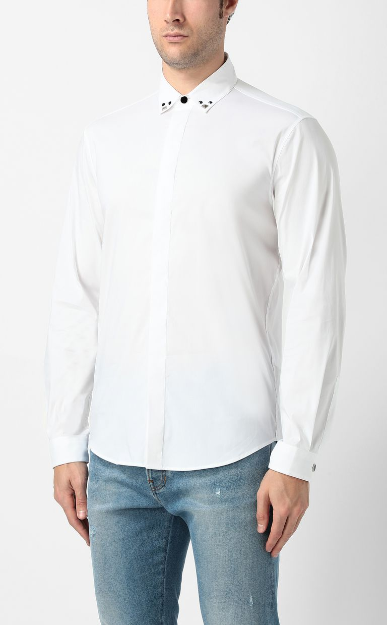 JUST CAVALLI White shirt with stud details Long sleeve shirt Man r