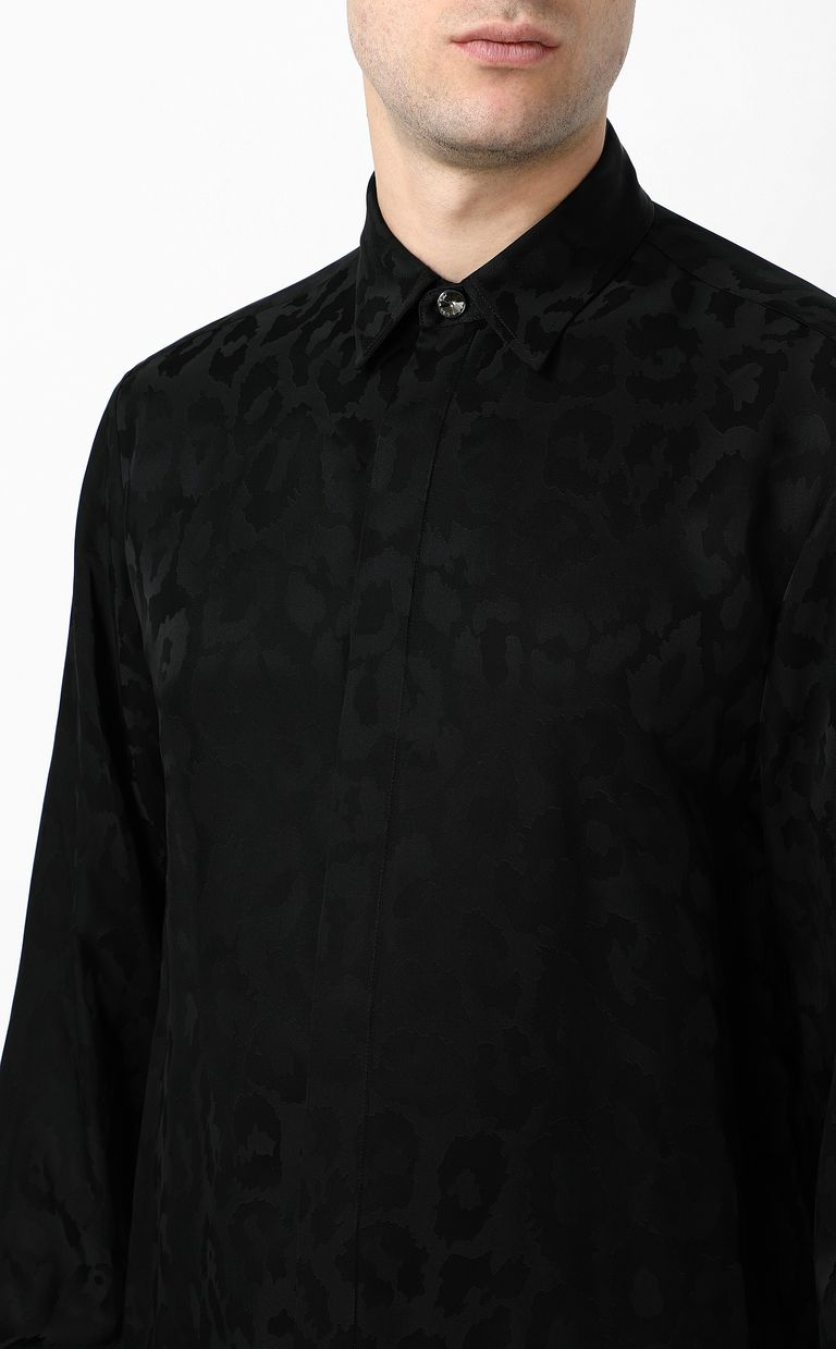 JUST CAVALLI Leopard-spot-print shirt Long sleeve shirt Man e