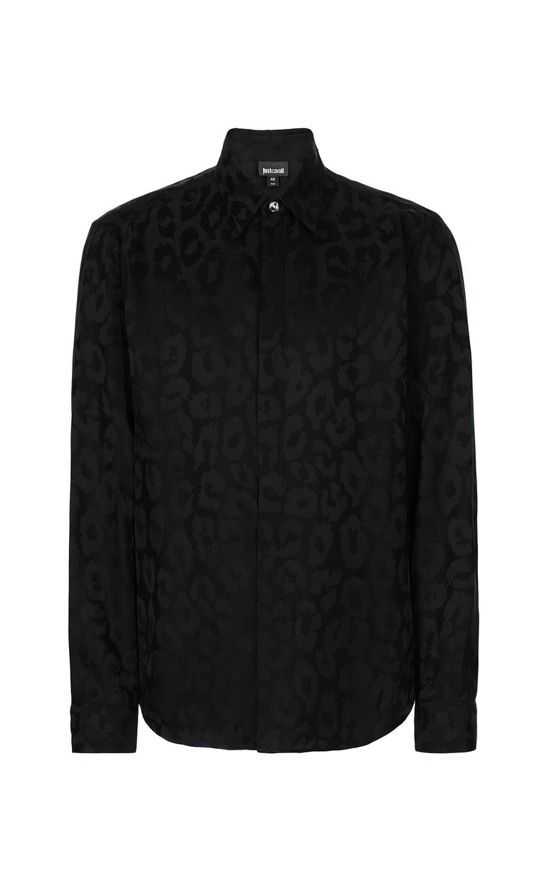 JUST CAVALLI Leopard-spot-print shirt Long sleeve shirt Man f