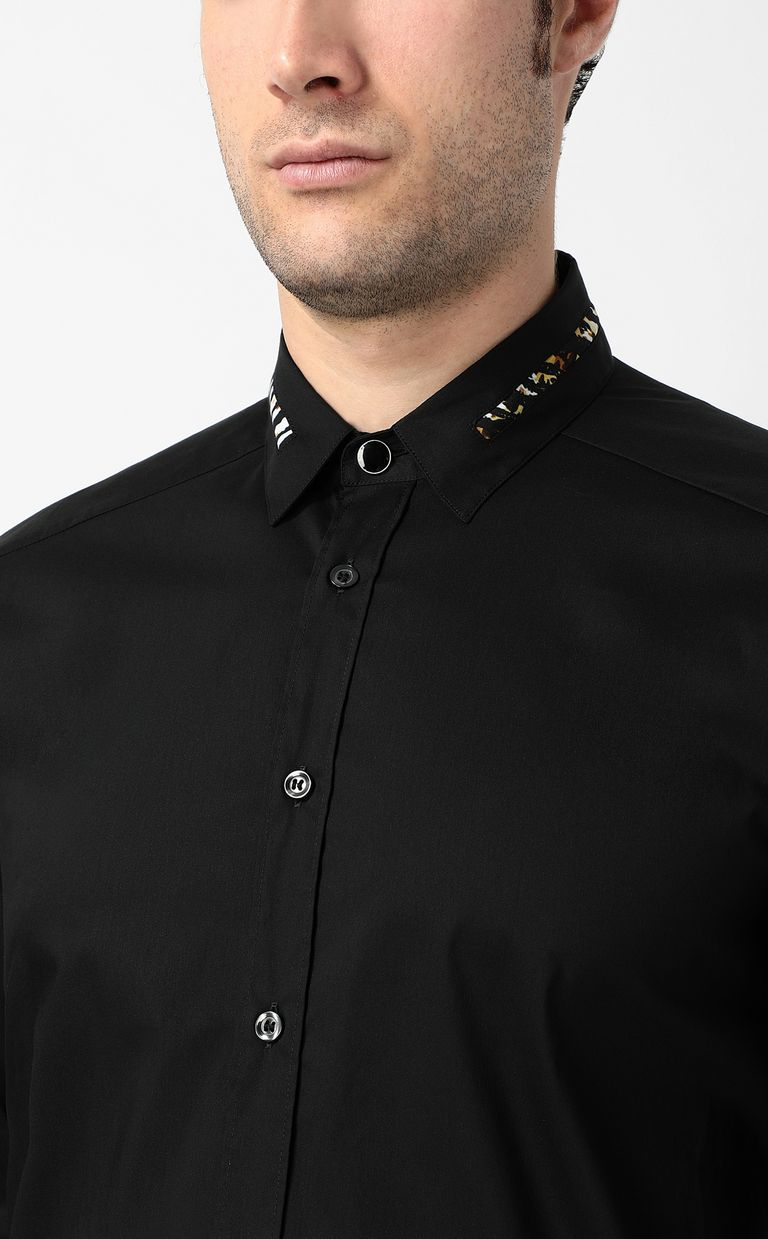 JUST CAVALLI Black shirt with animal pattern Long sleeve shirt Man e