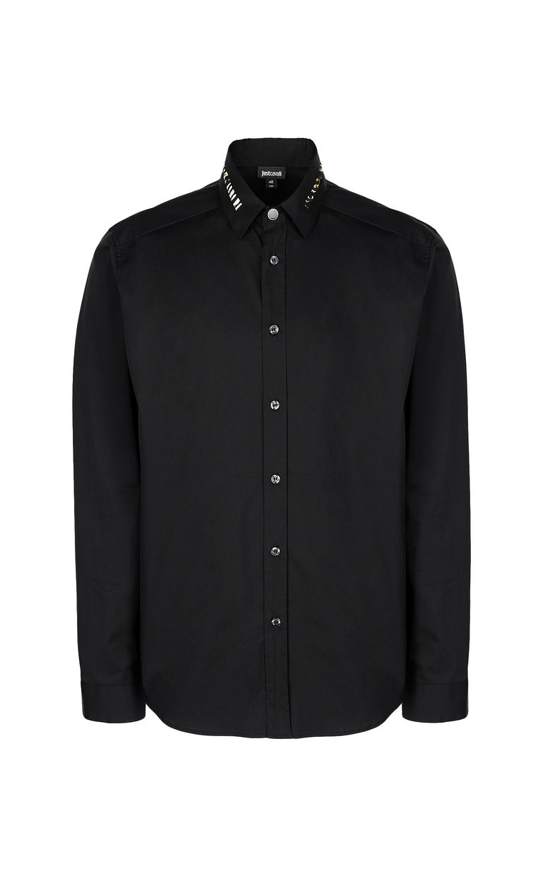 JUST CAVALLI Black shirt with animal pattern Long sleeve shirt Man f