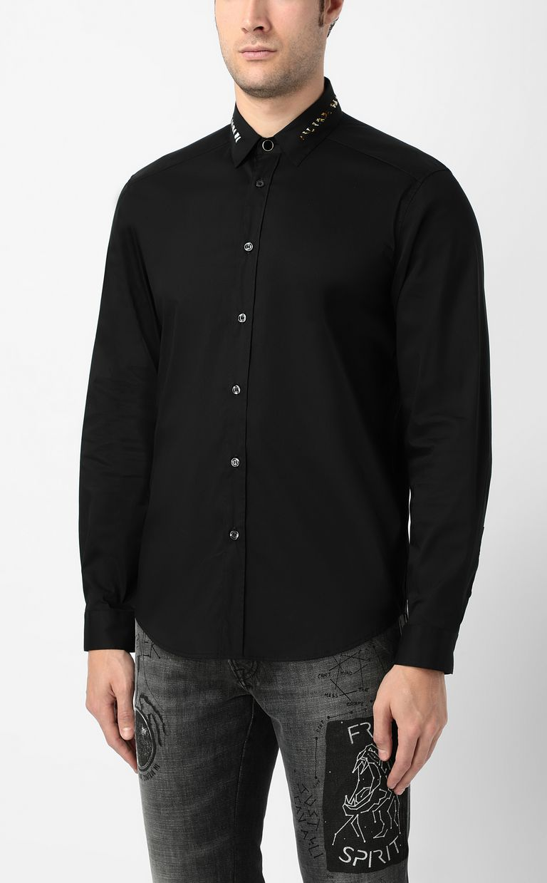 JUST CAVALLI Black shirt with animal pattern Long sleeve shirt Man r