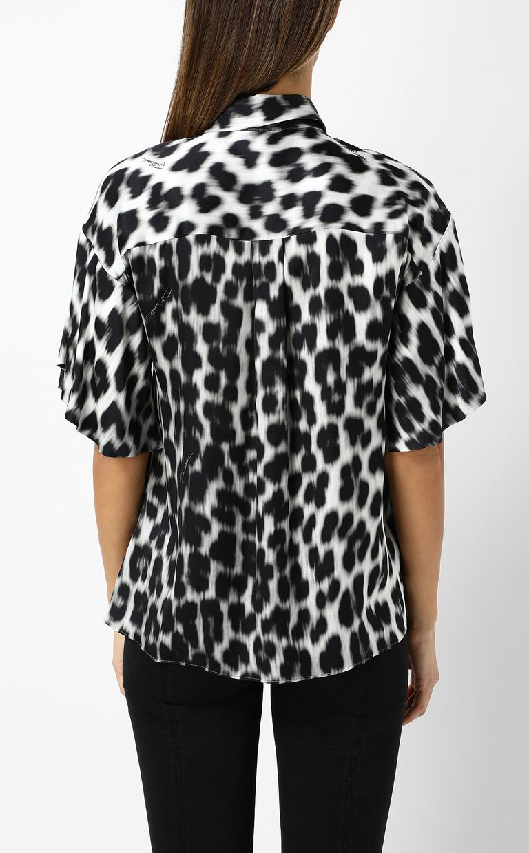 JUST CAVALLI Shirt with leopard-spot print Short sleeve shirt Woman a
