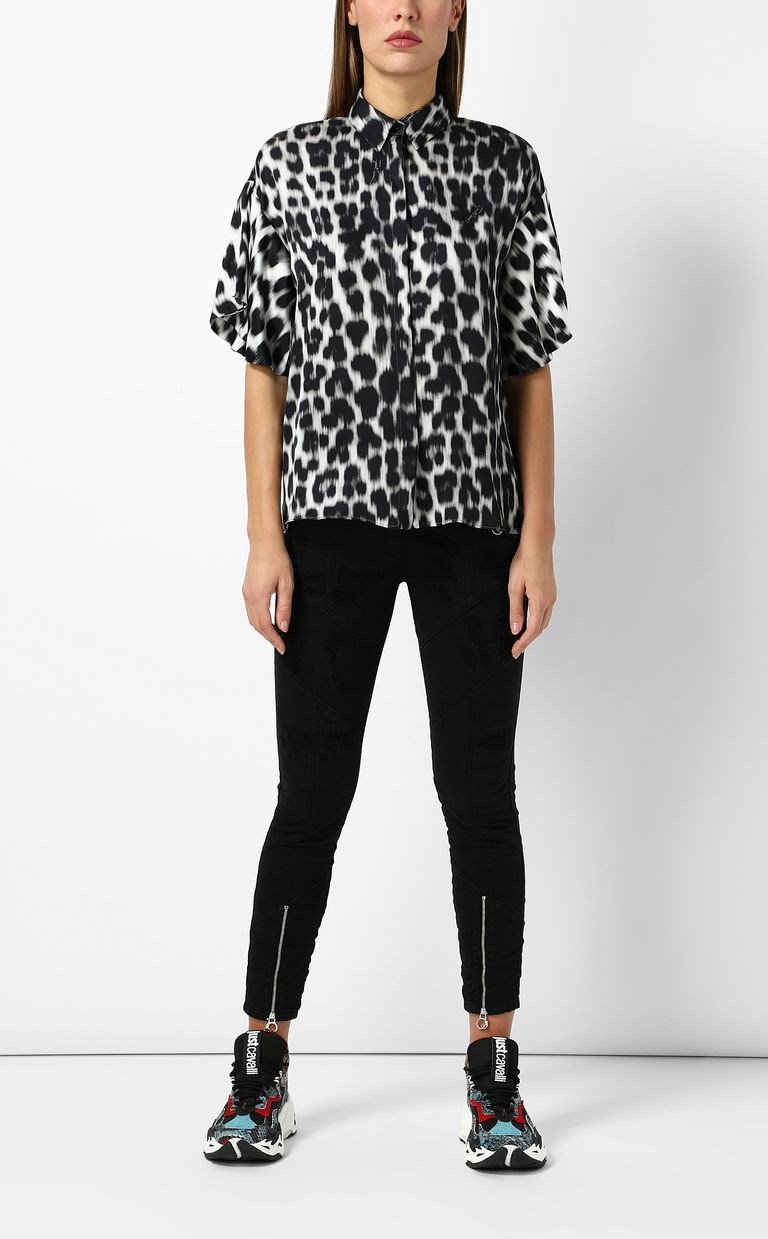 JUST CAVALLI Shirt with leopard-spot print Short sleeve shirt Woman d
