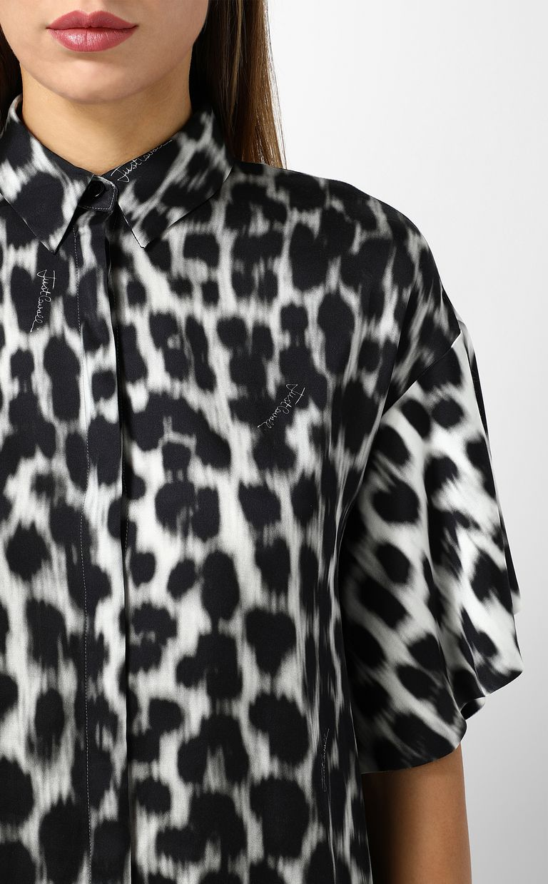 JUST CAVALLI Shirt with leopard-spot print Short sleeve shirt Woman e