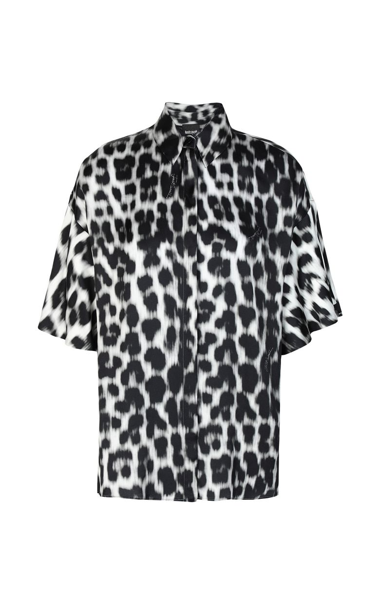 JUST CAVALLI Shirt with leopard-spot print Short sleeve shirt Woman f