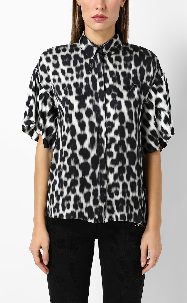 JUST CAVALLI Shirt with leopard-spot print Short sleeve shirt Woman r