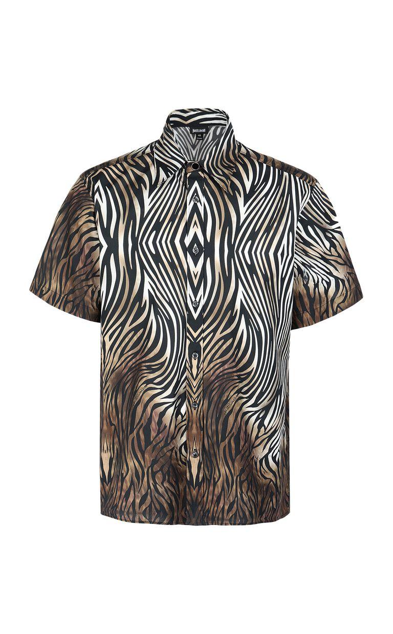 "JUST CAVALLI Shirt with ""Symbiosis"" pattern Short sleeve shirt Man f"