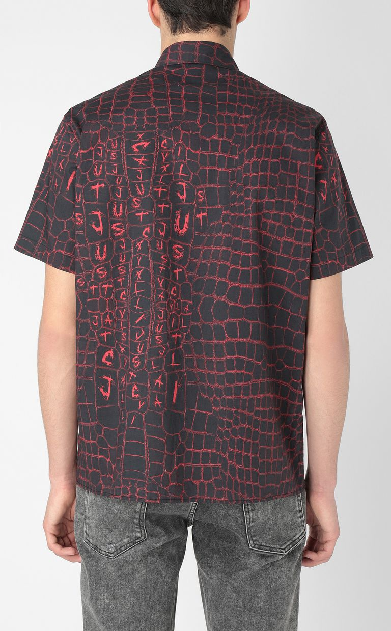 JUST CAVALLI Crocodile-skin-effect shirt Short sleeve shirt Man a