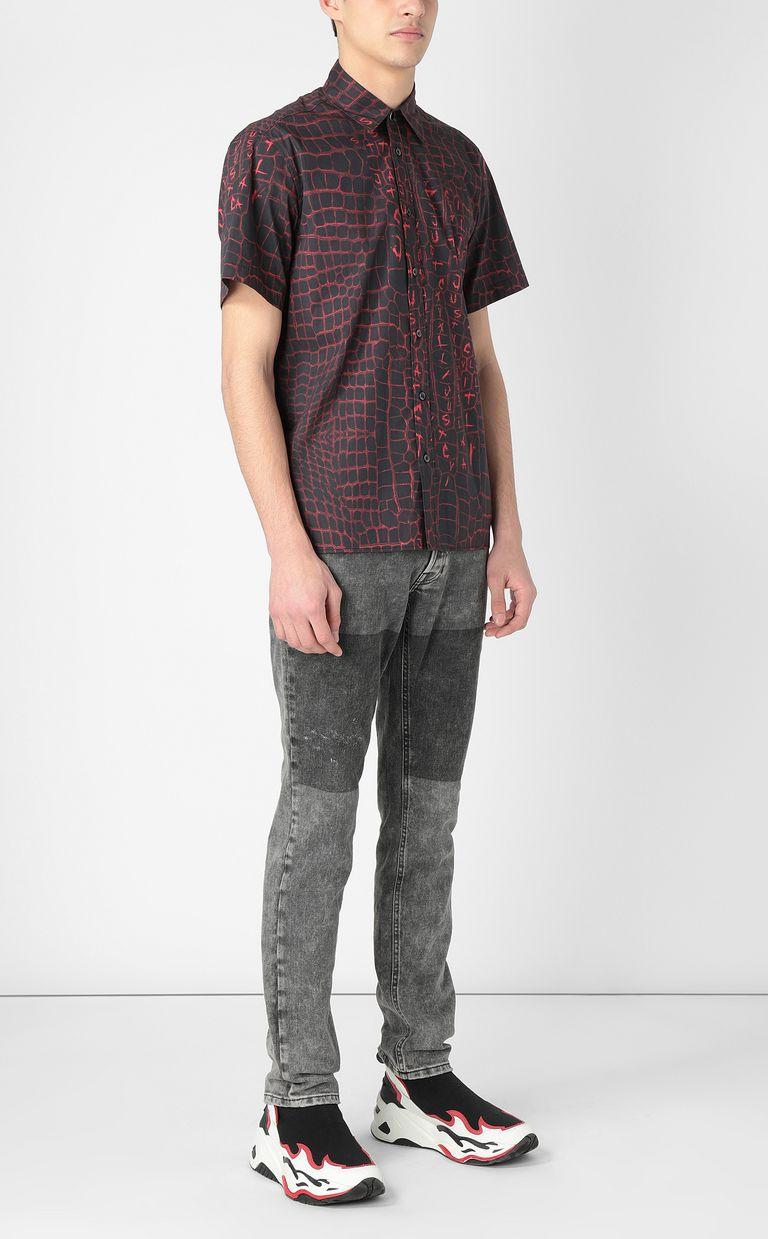 JUST CAVALLI Crocodile-skin-effect shirt Short sleeve shirt Man d