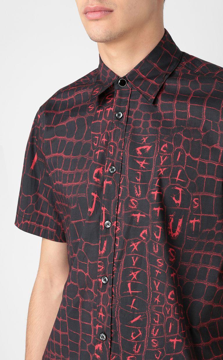 JUST CAVALLI Crocodile-skin-effect shirt Short sleeve shirt Man e