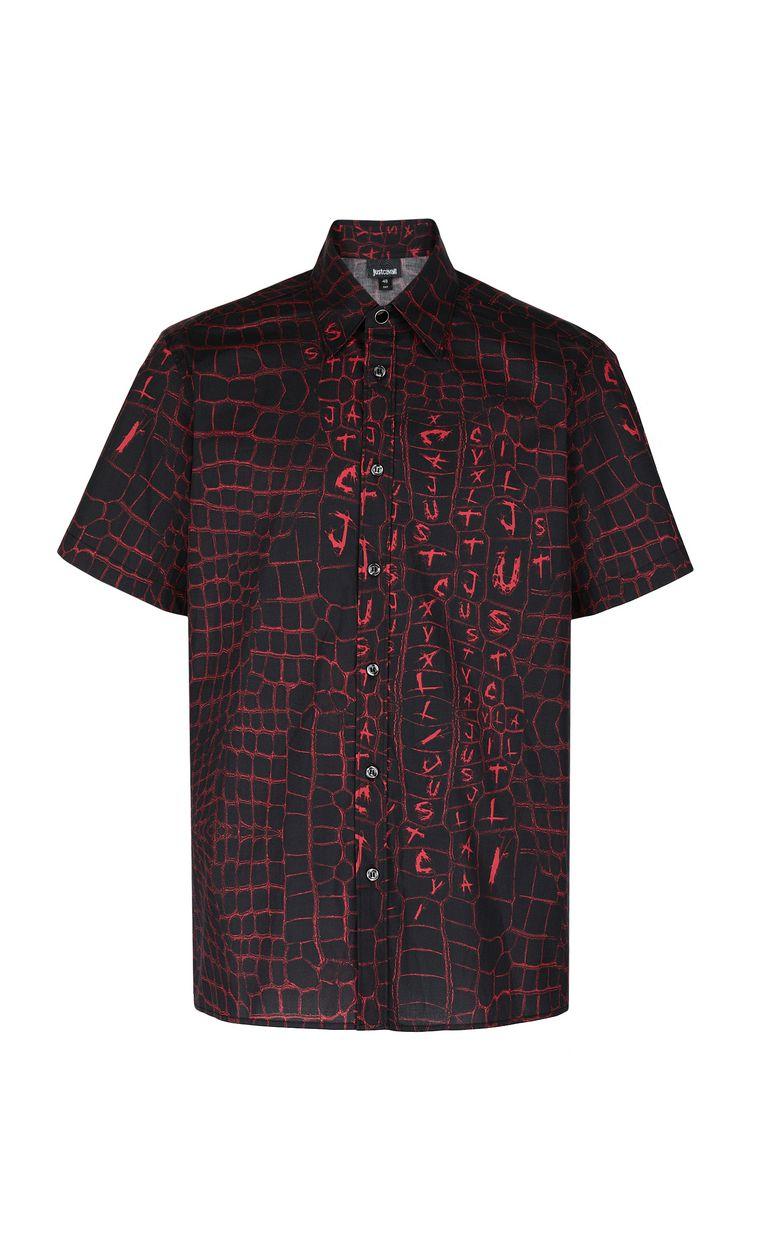 JUST CAVALLI Crocodile-skin-effect shirt Short sleeve shirt Man f