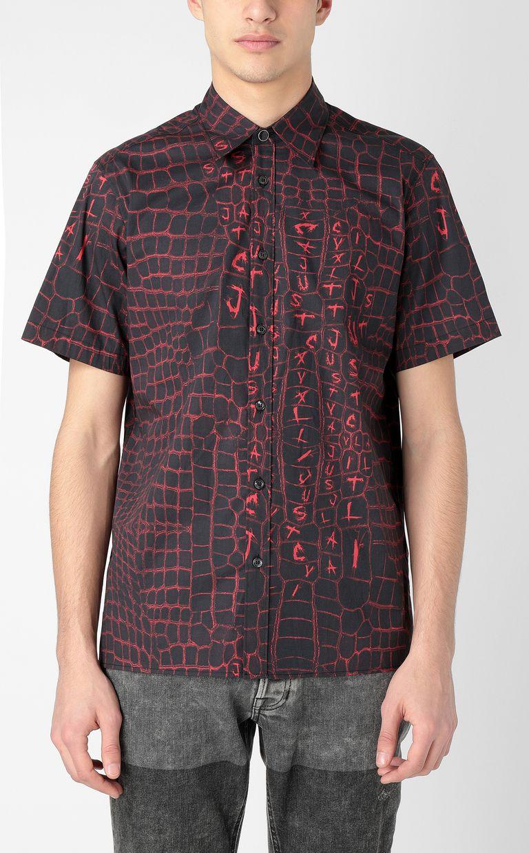 JUST CAVALLI Crocodile-skin-effect shirt Short sleeve shirt Man r