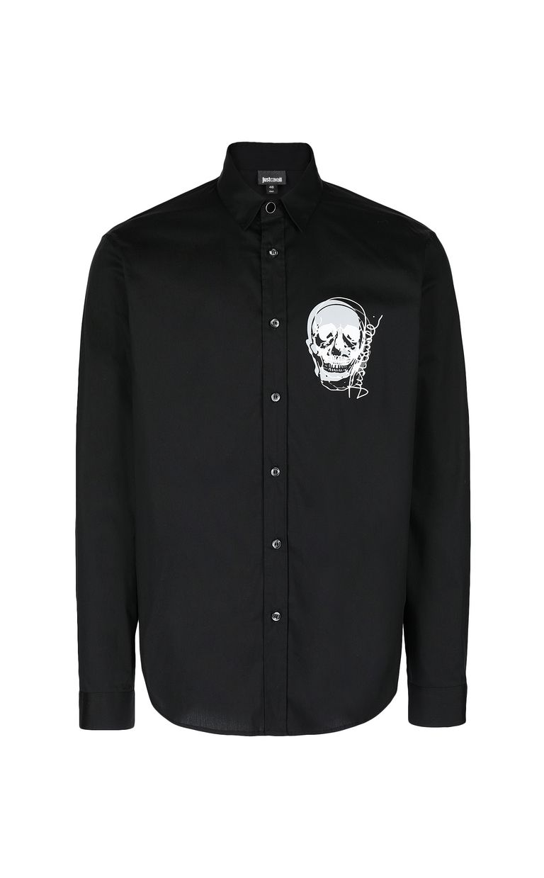 JUST CAVALLI Shirt with skull detail Long sleeve shirt Man f