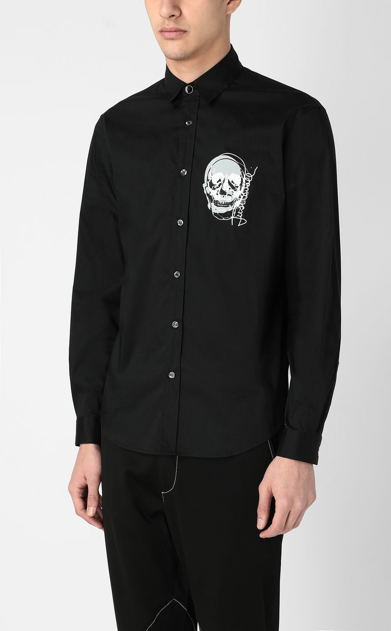 JUST CAVALLI Shirt with skull detail Long sleeve shirt Man r