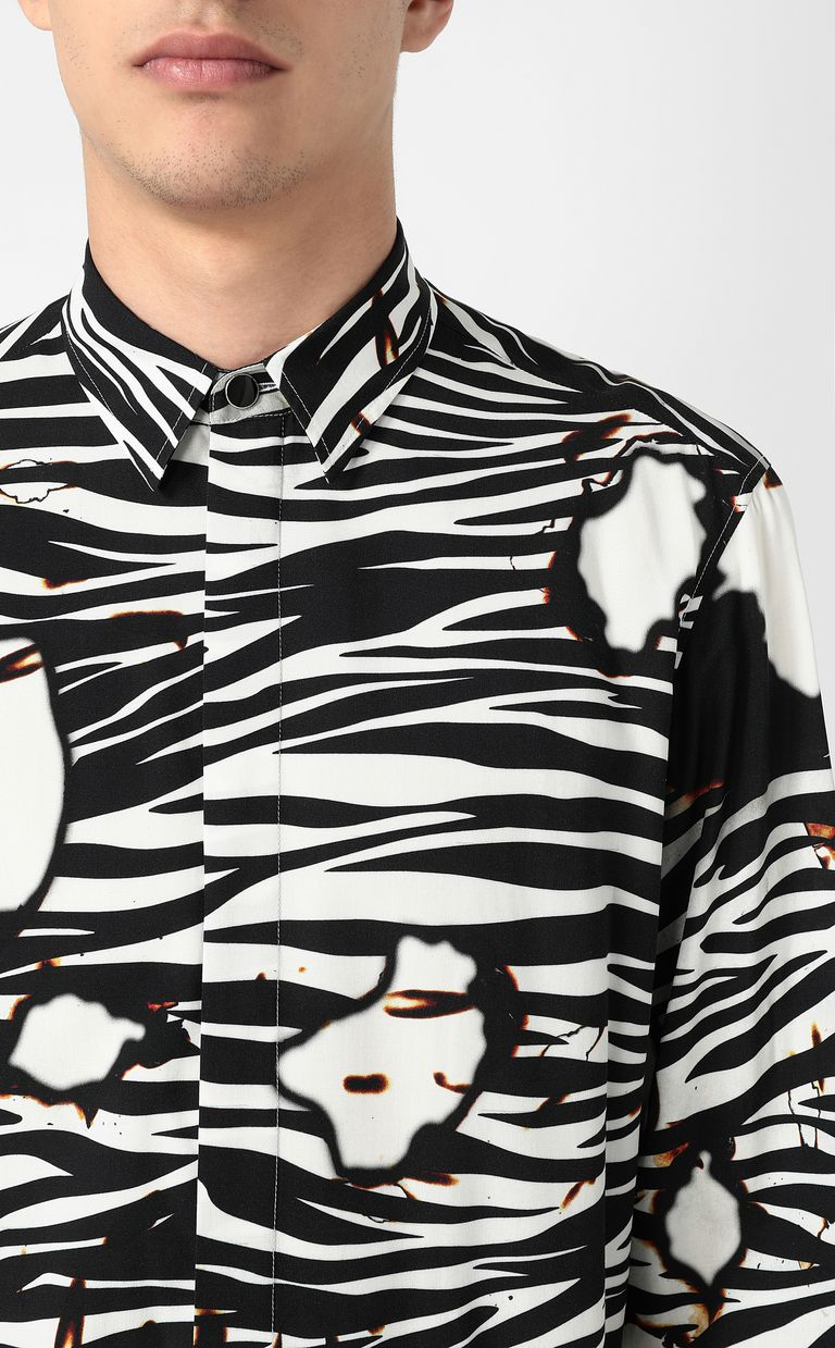"JUST CAVALLI ""Burning Zebra""-print shirt Long sleeve shirt Man e"