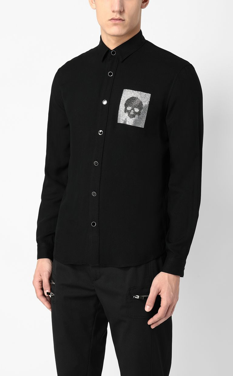 JUST CAVALLI Shirt with skull detail Long sleeve shirt Man r
