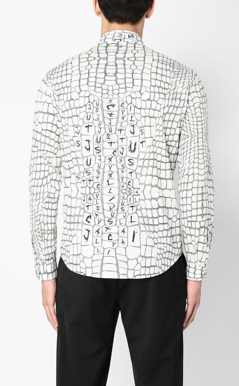 JUST CAVALLI Crocodile-skin-effect shirt Long sleeve shirt Man a