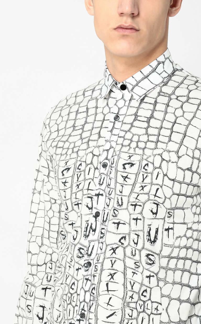 JUST CAVALLI Crocodile-skin-effect shirt Long sleeve shirt Man e