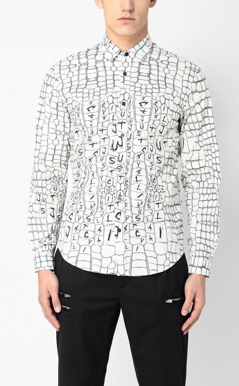 JUST CAVALLI Crocodile-skin-effect shirt Long sleeve shirt Man r