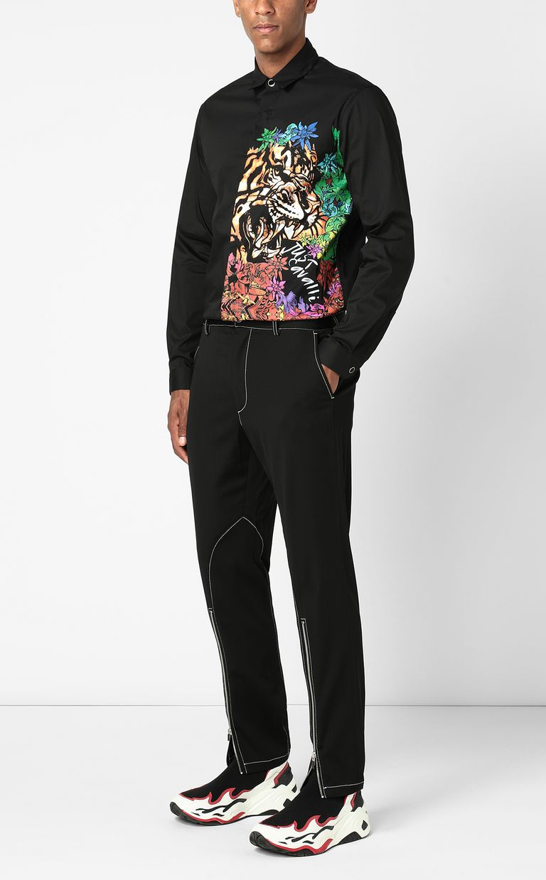 """JUST CAVALLI Shirt with """"In the Jungle"""" print Long sleeve shirt Man d"""