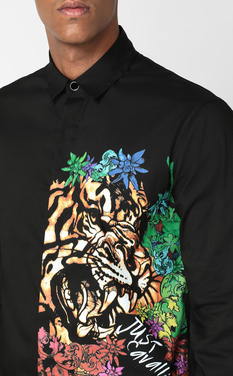 """JUST CAVALLI Shirt with """"In the Jungle"""" print Long sleeve shirt Man e"""