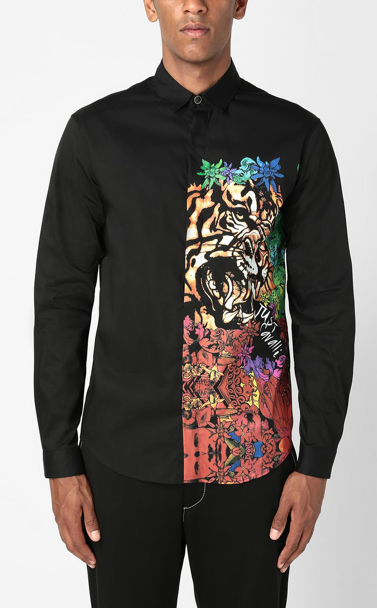 """JUST CAVALLI Shirt with """"In the Jungle"""" print Long sleeve shirt Man r"""
