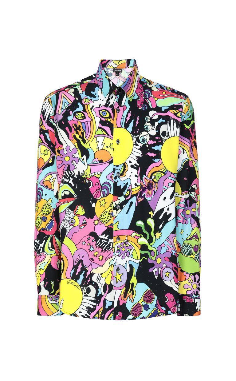 "JUST CAVALLI Shirt with ""Mash-Up"" print Long sleeve shirt Man f"