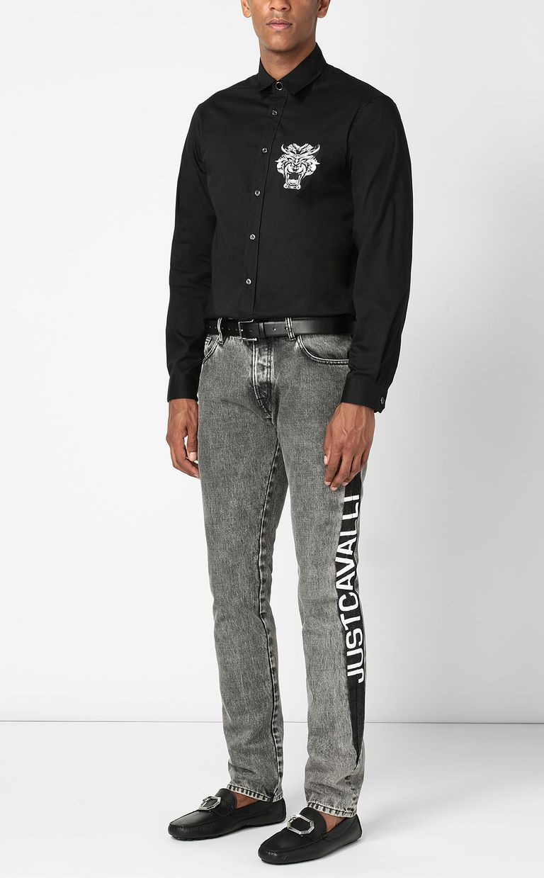 JUST CAVALLI Shirt with Tiger Knocker detail Long sleeve shirt Man d