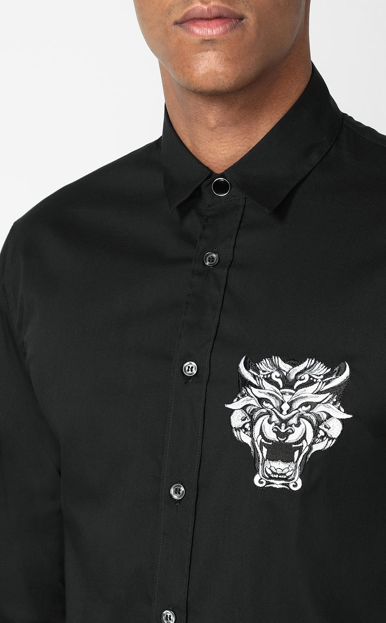 JUST CAVALLI Shirt with Tiger Knocker detail Long sleeve shirt Man e