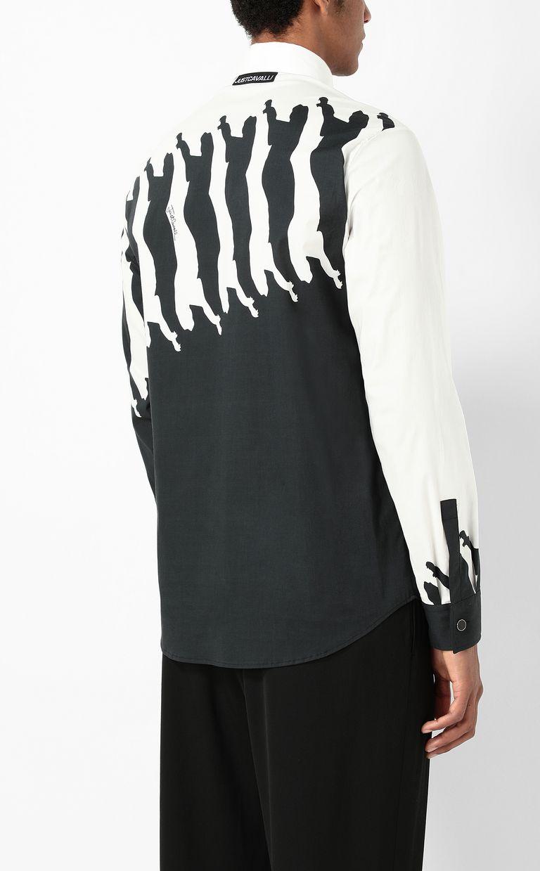 JUST CAVALLI Shirt with Diagonal Cheetah print Long sleeve shirt Man a