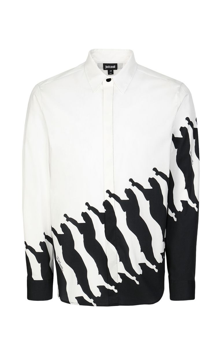 JUST CAVALLI Shirt with Diagonal Cheetah print Long sleeve shirt Man f