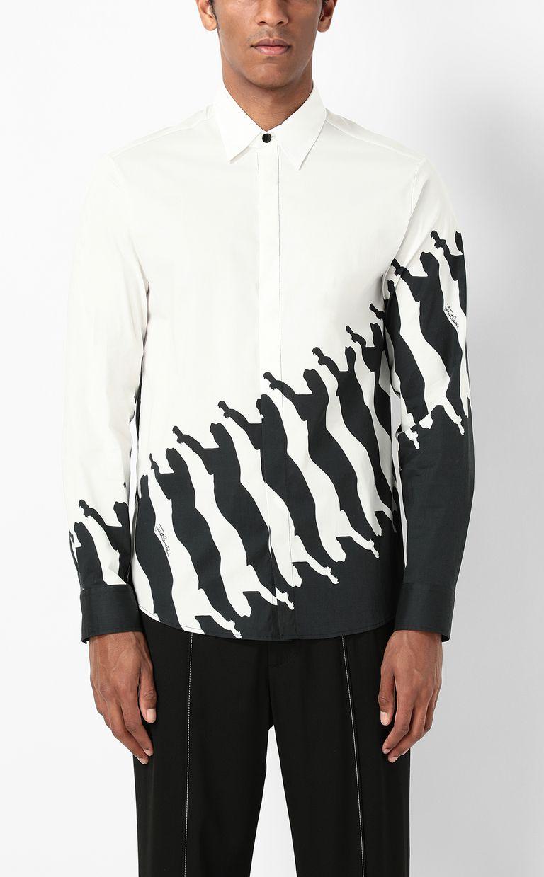 JUST CAVALLI Shirt with Diagonal Cheetah print Long sleeve shirt Man r
