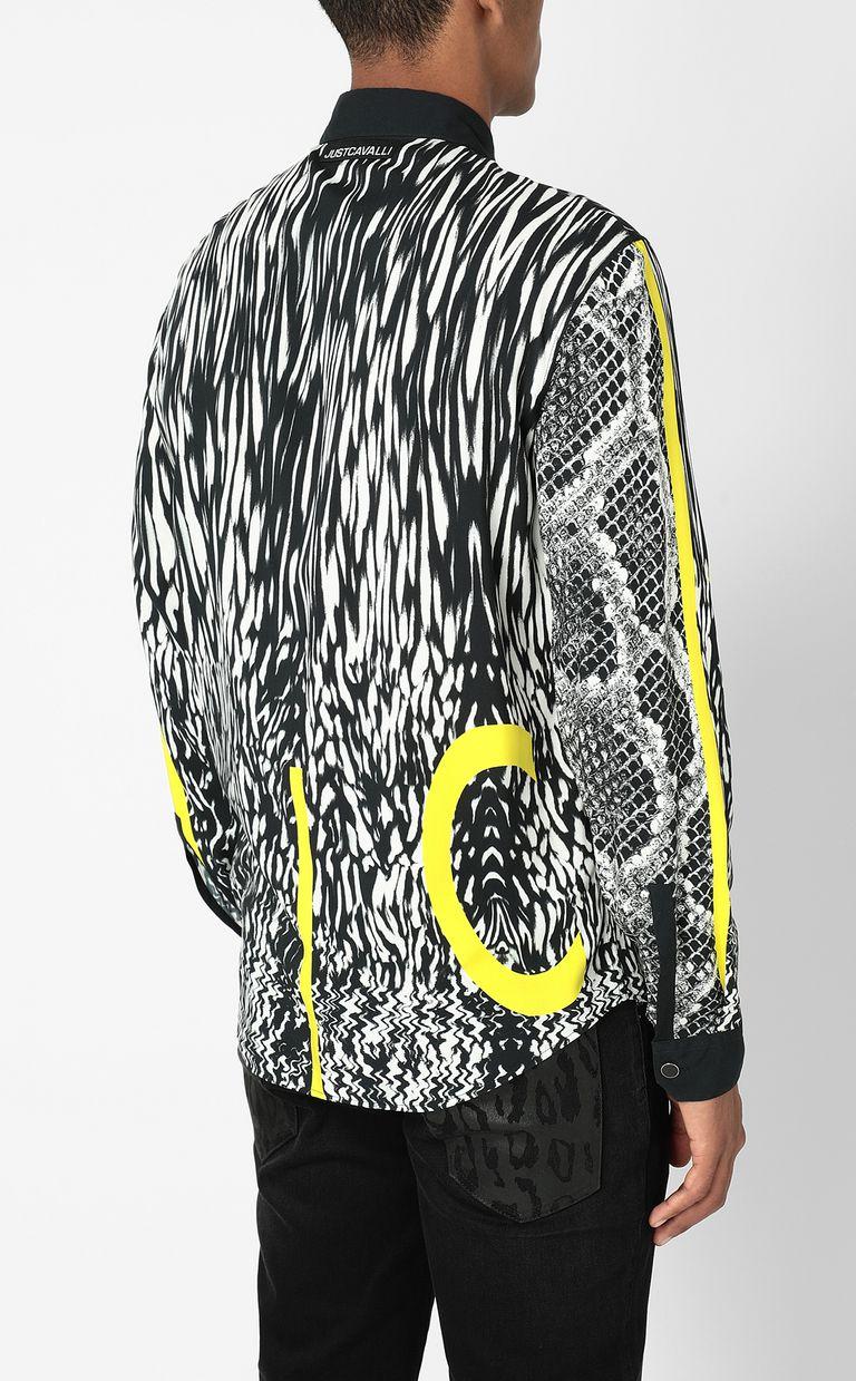 JUST CAVALLI Shirt with Fur-Python-mix print Long sleeve shirt Man a