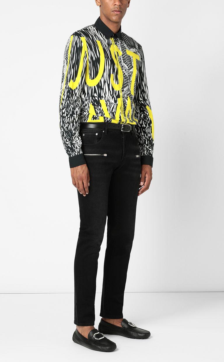 JUST CAVALLI Shirt with Fur-Python-mix print Long sleeve shirt Man d
