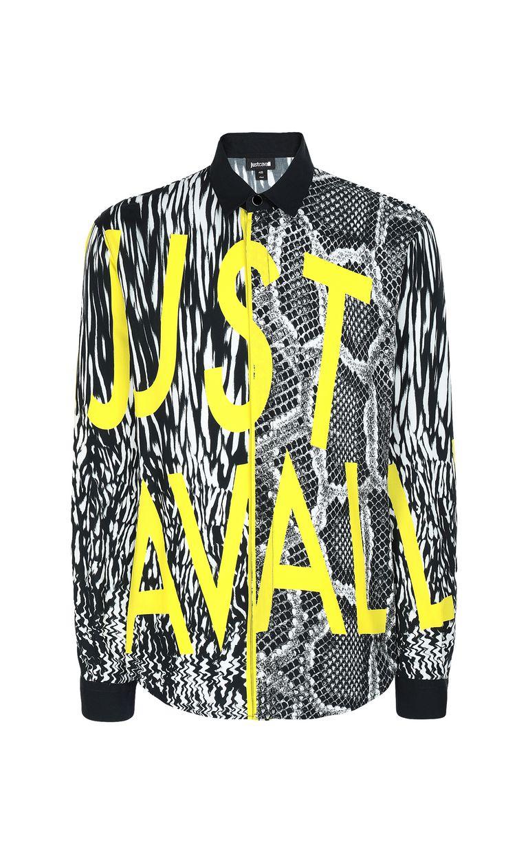 JUST CAVALLI Shirt with Fur-Python-mix print Long sleeve shirt Man f