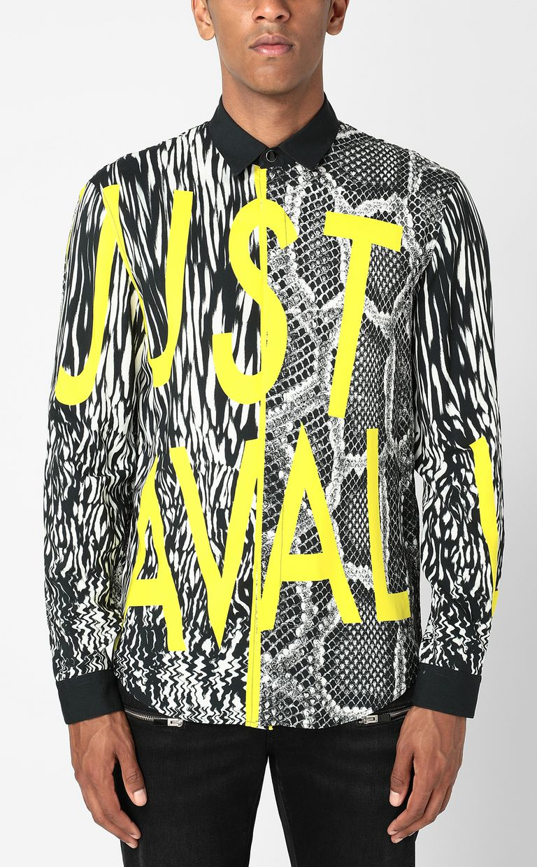 JUST CAVALLI Shirt with Fur-Python-mix print Long sleeve shirt Man r