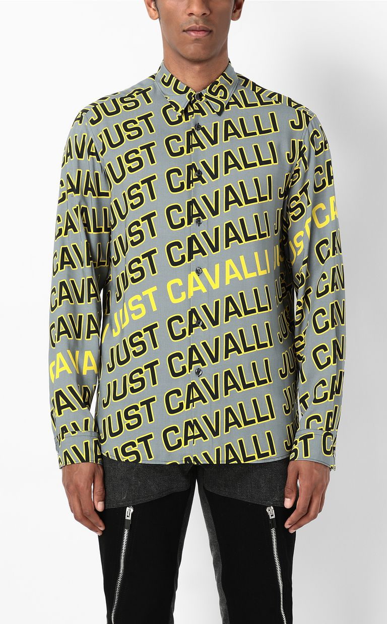 JUST CAVALLI Shirt with Logo print Long sleeve shirt Man r