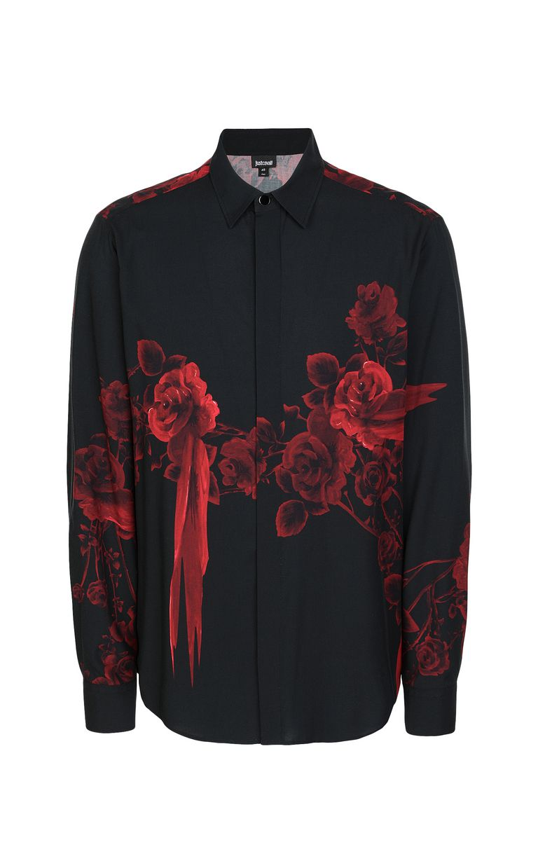 JUST CAVALLI Shirt with Moving Roses pattern Long sleeve shirt Man f