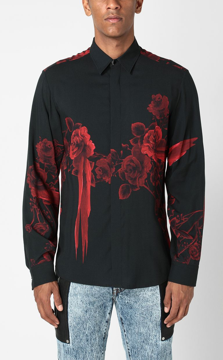 JUST CAVALLI Shirt with Moving Roses pattern Long sleeve shirt Man r