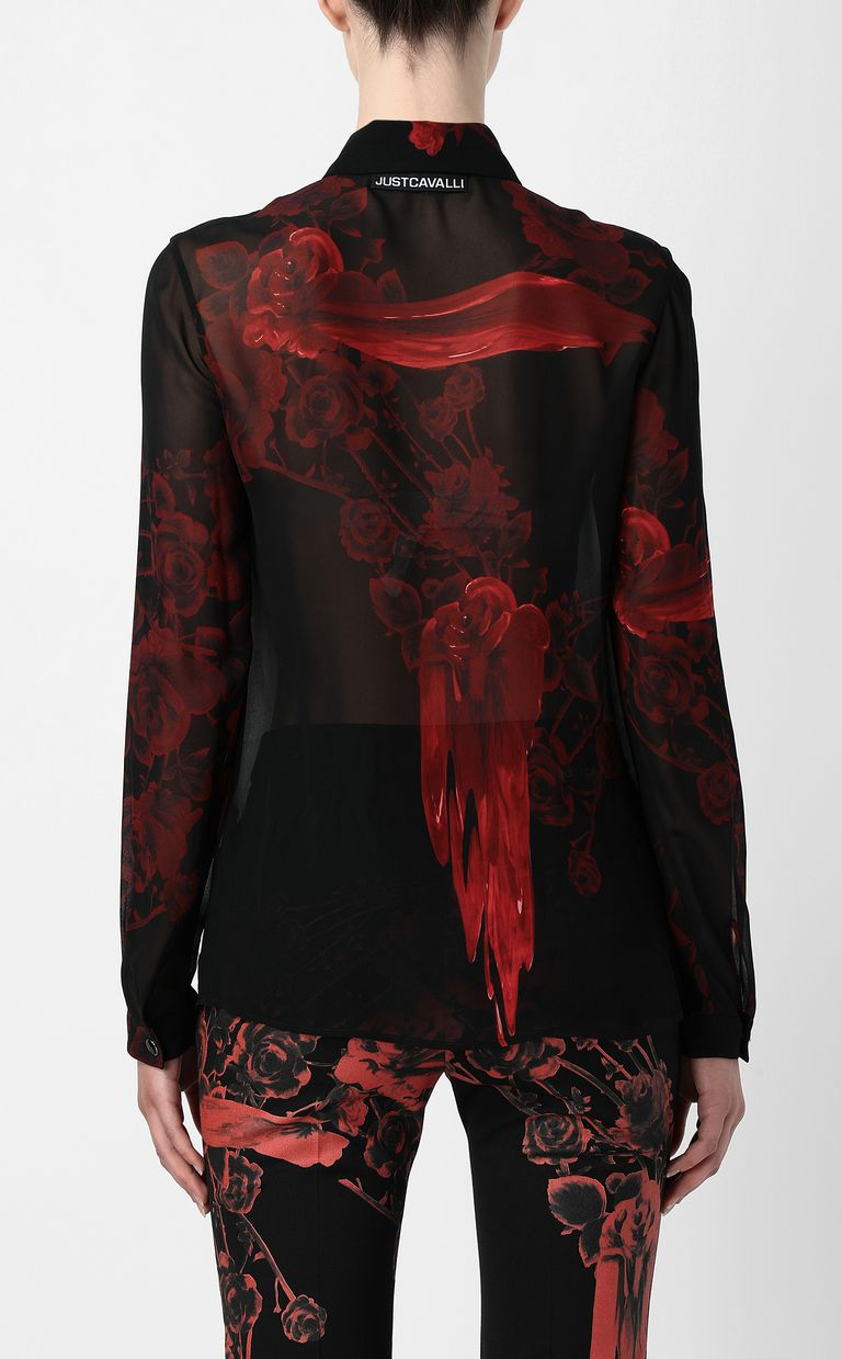 JUST CAVALLI Shirt with Moving-Roses print Long sleeve shirt Woman a