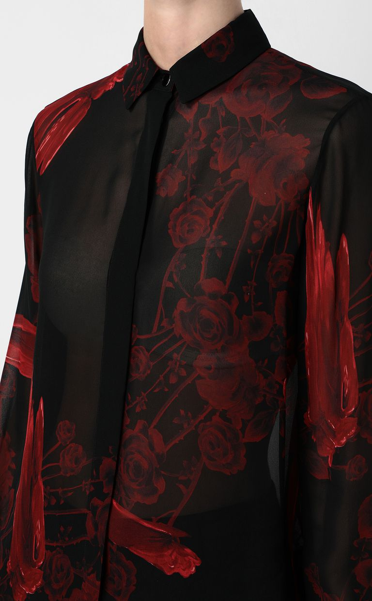 JUST CAVALLI Shirt with Moving-Roses print Long sleeve shirt Woman e