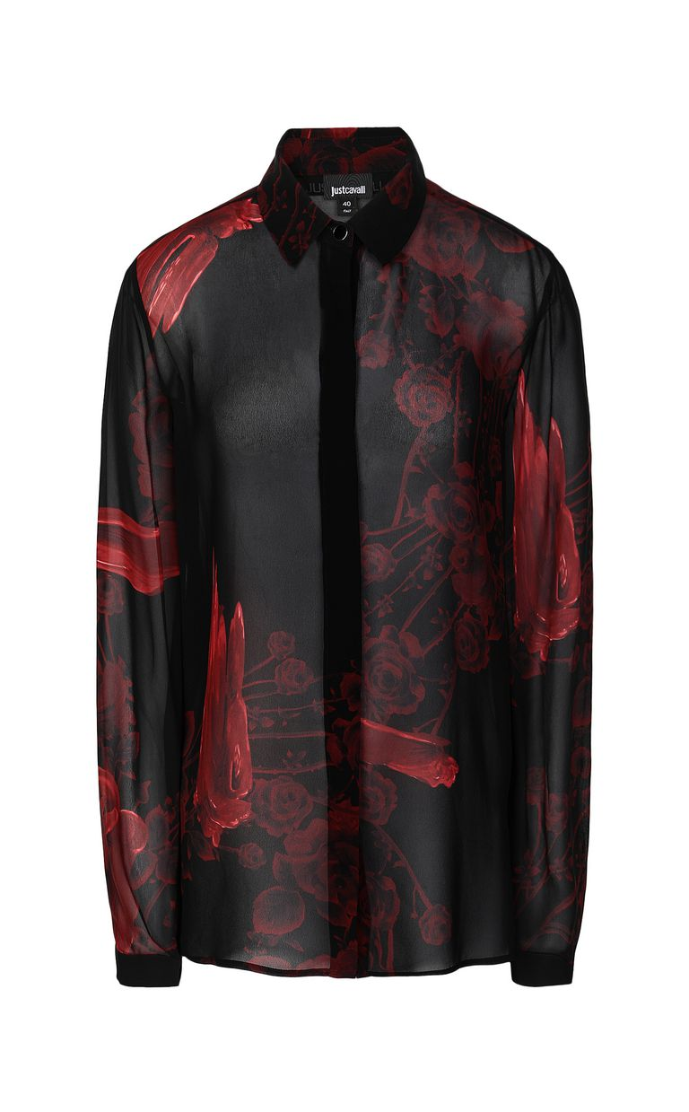 JUST CAVALLI Shirt with Moving-Roses print Long sleeve shirt Woman f