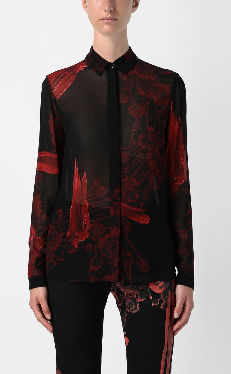 JUST CAVALLI Shirt with Moving-Roses print Long sleeve shirt Woman r